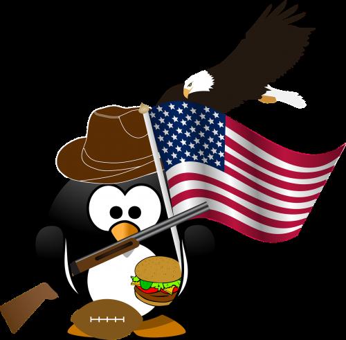 pingvinas,vėliava,erelis,amerikietis,patriotinis,mesainis,rutulys,nemokama vektorinė grafika