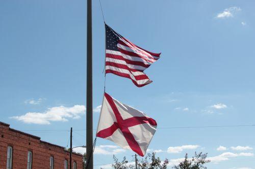 amerikietis, alabama, vėliavos, amerikiečių ir alabamos vėliavos