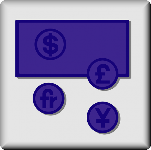 amerikietiškojo dolerio simbolis,britų svaras simbolis,Japonijos jenos simbolis,Prancūzijos franko simbolis,pinigų simboliai,valiutos simboliai,bankininkystė,nemokama vektorinė grafika