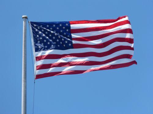 Amerikos vėliava,vėliava plaukioja,4-as,patriotinis,Jungtinės Valstijos,amerikietiška vėliava plaukioja