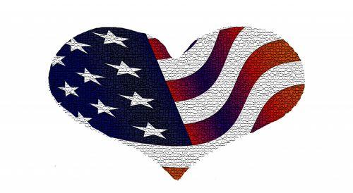 vėliavos, juostelės, meilė, skaitmeninis, amerikietiška vėliavos širdis