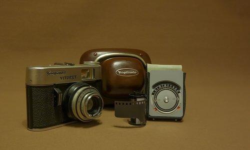 analogas, voigtlander, kamera, ekspozicijos matuoklis, plėvelės, senas fotoaparatas, diapazono ieškiklį kamera, nostalgija, analoginis kamera