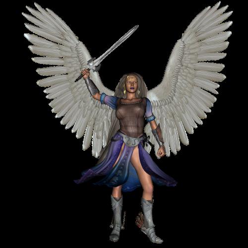 angelas, fantazija, karys, sparnai, modelis, mada, sparnas, plunksna, Kardas, 3d, padengti, moteris, moterų kariai, kelti, charakteris, legenda, be honoraro mokesčio
