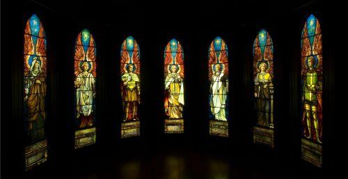 angelas, angelai, dažytos, stiklas, langas, langai, fonas, dizainas, nuotrauka, viešasis & nbsp, domenas, angelai vitražais