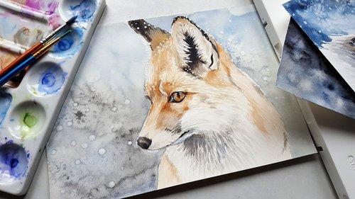gyvūnas, lapė, pobūdį, tapyba, menas, spalvos, šepečiai, akvarelė