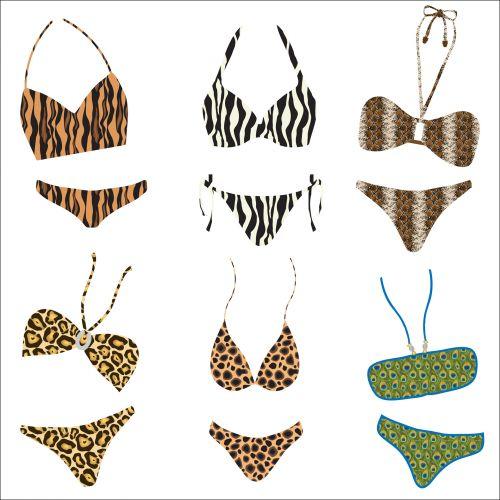 bikini, bikinis, maudymosi kostiumai, gyvūnas & nbsp, spausdinti, iliustracija, apranga, drabužiai, mada, linksma, spausdinti, dizainas, gyvūnų spausdinimo bikini