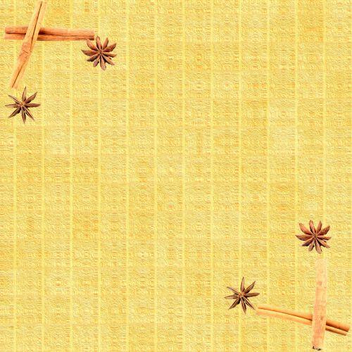 Scrapbooking, fonas, popierius, cinamonas, anīsas, geltona, anišis ir cinamonas 1