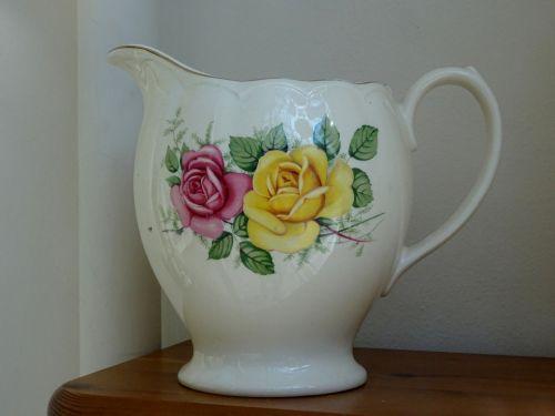 Senovinis, ąsotis, ąsočiai, ąsotis, Ąsočiuose, gėlių, gėlė, gėlės, keramika, keramika, keramika, porcelianas, vintage, klasikinis, antikvariniai daiktai, senas, victorian, victoriana, Antikvariniai gėlių šablonai