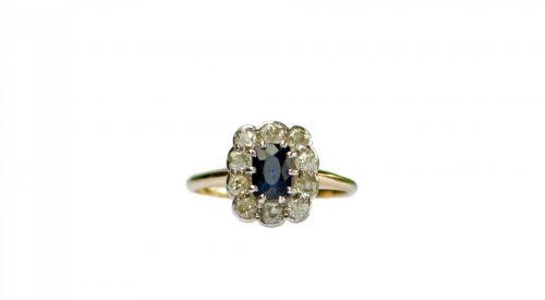 žiedas, įjungimas & nbsp, žiedas, Senovinis, vintage, safyras, deimantas, deimantai, Iš arti, detalės, izoliuotas, balta, fonas, papuošalai, senovinis safyro žiedas