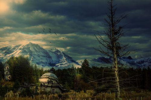 apokaliptinis,medžiai,miškas,pastatai,kalnai,dangus,Debesuota,apokalipsė,aplinkosauga,oras,keisti,aplinka,gamta,klimatas,dykuma,dykuma,kumpas,ekologija,paukščiai,dykuma,žolė,sniegas