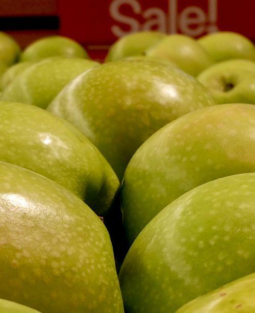 žalias, obuoliai, blizgantis, pardavimas, ženklas, vaisiai, turgus, obuolių pardavimas