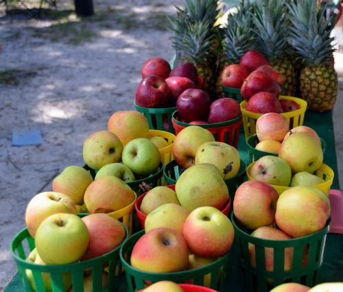 vaisiai, obuoliai, pušies & nbsp, obuoliai, saldus, turgus, lauke, fort & nbsp, pardavimas, maistas, parduodami obuoliai