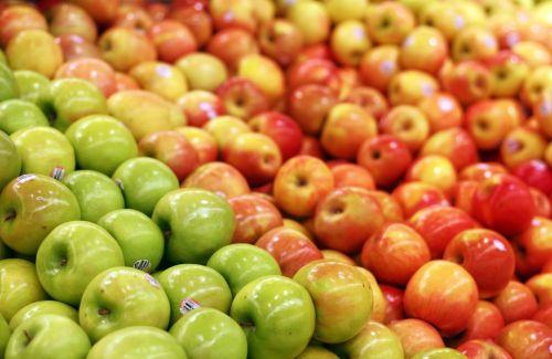 obuolys, raudona, žalias, obuoliai, dėžė, prekybos centras, bakalėjos & nbsp, parduotuvė, laikyti, daug, krūva, derlius, vaisiai, gala & nbsp, obuolys, močiutė & nbsp, smith, obuoliai prekybos centre