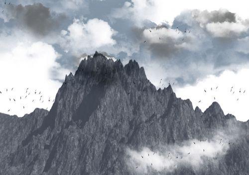 Photoshop, šepečiai, fonas, kalnas, debesys, paukščiai, audra, artėja audra