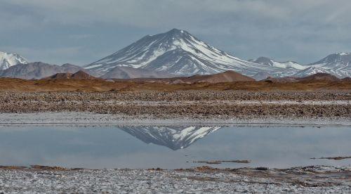 Aracar,kalnas,stratovolcano,andes,druska butas,Andes,argentina,ežeras,vanduo,atspindys