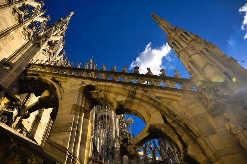 architektūra, kelionė, pastatas, miestas, dangus, milanas, Duomo, gotikos architektūra, be honoraro mokesčio