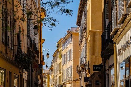 architektūra, Gatvė, namas, fasadas, langas, spalvinga, senovės, metai, Aix-en-Provence, Provanso, Prancūzija, Europa, Turizmas, miestas