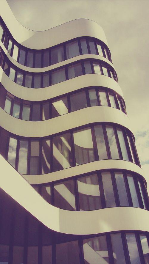 architektūra, namai, fasadas, moderni architektūra, šiuolaikiška, pastatas, miestas, dangoraižis, Diuseldorfas