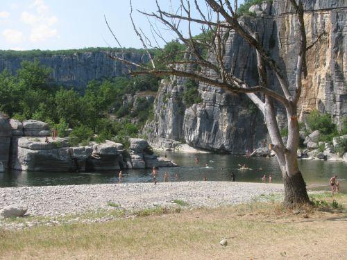 ardeche, upė, kanoją, france, papludimys, ardeche