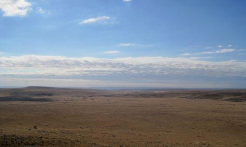pusiau dykuma, sausas, sausas, žemė, mesti, Ištemptas & nbsp, vista, debesys, dangus, sausas kraštovaizdis