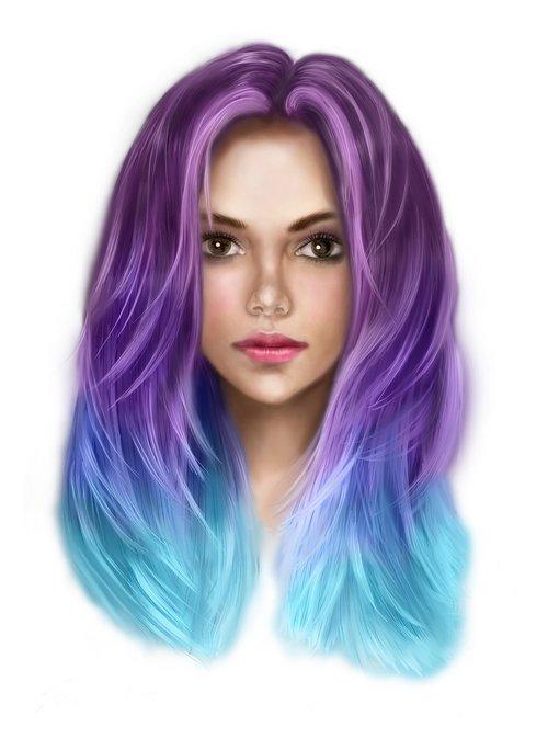 menas, kūrinys, skaitmeninis, skaitmeninės tapybos, skaitmeninis menas, mergina, Plaukų, spalvos, violetinė, mėlyna, moteris, graži, kūrybiškumas, mada, stilius, Nemokama iliustracijos