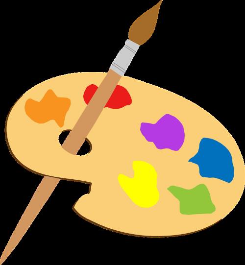 menininkas,spalvinga,dažų teptuku,paletė,nemokama vektorinė grafika