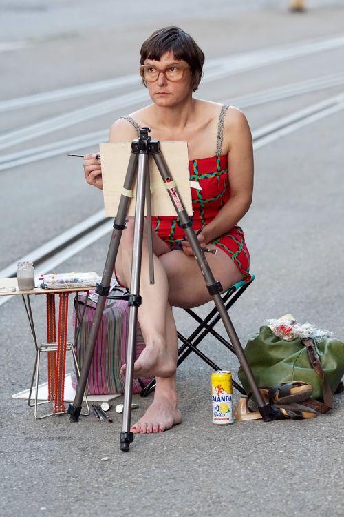 menininkas,dailininkas,menas,dažų vaizdas,Moteris,kelias,koncentracija,eismas