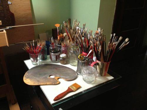 menininkas, dailininkas, šepečiai, įrankiai, meno, kurti, gerai, aliejus, šepetys, menininkų įrankiai ir šepečiai