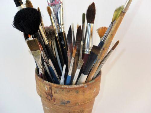 menininko šepečiai,šepečiai,šepečių puodą,menininkas,spalva,šepetys,dažyti,dizainas,įrankis,įranga,meno,profesionalus,darbas,kurti,dažymas
