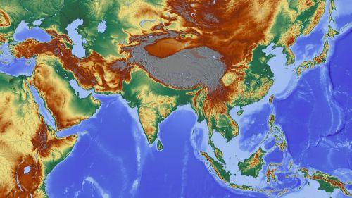 asija,Indija,Himalajus,Nepalas,žemėlapis,reljefo žemėlapis,aukščio profilis,aukščio struktūra,spalva,kartografija,mercatoriaus projekcija,atspalvis,aukštumos žemėlapis,didelis reljefas,didelio reljefo žemėlapis,topografija