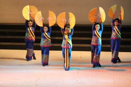 asija, šokis, šokėjai, spektaklis, kultūra, žmonės, mergaitės, studentai, spalvinga, suknelė, apranga, kostiumas, ventiliatorius, musulmonas & nbsp, šokis, azijietiškas šokis