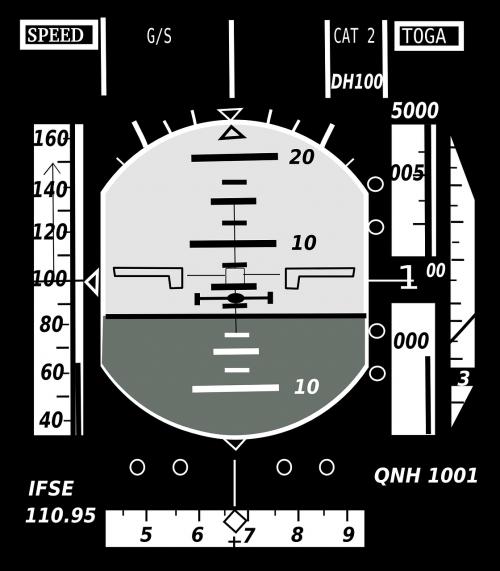 požiūrio rodiklis,dirbtinis horizontas,gyro horizontas,skraidantis,skrydžio treniruoklis,lėktuvas,rodyti,nemokama vektorinė grafika