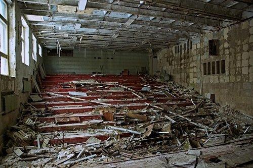 auditorija, teatras, Pripetė, skilimas, išskirtinė zona, radioaktyviosios, spinduliuotės, Ukraina, TSRS, nelaimė, persekiotojas, vaiduoklių miestas, sugadinti, suskirstytas, sugadintas, metai, atlaikė, amžiaus, Vintage, naikinimas, prarado vietą, pamiršote, sugriautas