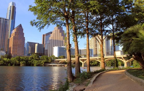 Austin, Texas, Lady Bird ežeras, Austin Skyline, kongresų Avenue tiltas