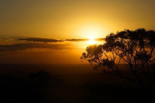 Australija, Outback, naujasis Pietų Velsas, krūmas, žemės ūkio naudmenų, saulėlydžio, saulė, medis, pobūdį, dykuma, gražus, Bushland, kraštovaizdis, Peržiūrėti, vaizdingas