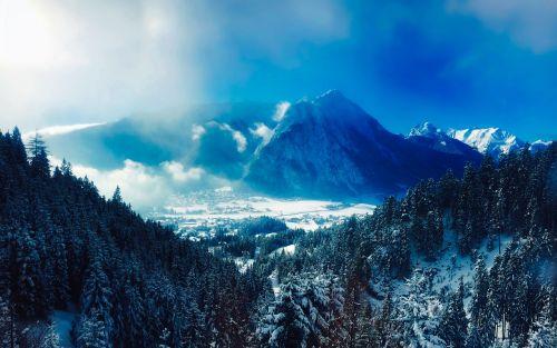 austria,kalnai,kraštovaizdis,vaizdingas,saulėtekis,slėnis,kaimas,žiema,sniegas,miškas,medžiai,miškai,gamta,lauke,Šalis,kaimas,kaimas,dykuma,hdr