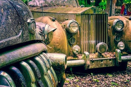 automatinis, Limuzinų, automobilių kapinės, poilsio vieta, Oldtimer, transporto priemonės, automobilių, klasikinis, Retro, senų automobilių, neteko vietos, Vintage, metai, Vintage Automobilis, Vintage automobilis, Rolls Royce, Buick, Amerikos, Vintage automobilio priekio, atminties, Amerikos automobilių, laužas, rūdžių spalvos, avarija, atlaikė, visą, grotelės