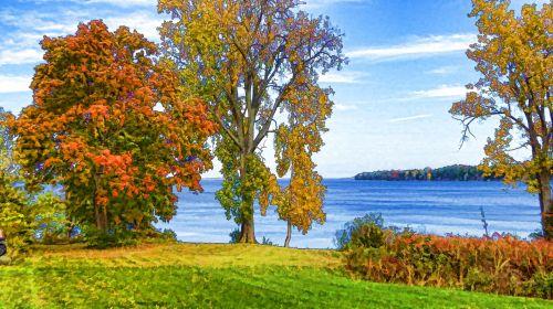 ruduo, kritimas, lapai, lapija, ežeras, Vermont, ežeras & nbsp, champlain, dažytos, tapybos, medis, medžiai, menas, meno, Laisvas, viešasis & nbsp, domenas, vanduo, gamta, lauke, spalvinga, rudens ežeras