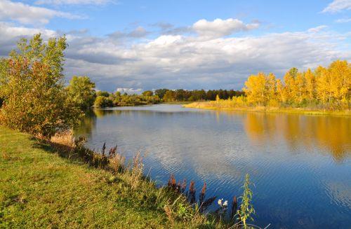 ruduo, kraštovaizdis, gamta, upė, medžiai, auksas, rudens kraštovaizdis