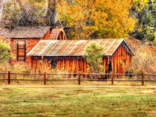 kritimas, ruduo, lapija, vandens ratas, vanduo & nbsp, ratas, senas, vintage, ūkis, tvartas, kraštovaizdis, rudens vandens ratas