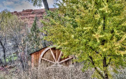 kritimas, ruduo, lapija, vandens ratas, vanduo & nbsp, ratas, senas, vintage, kraštovaizdis, rudens vandens ratas