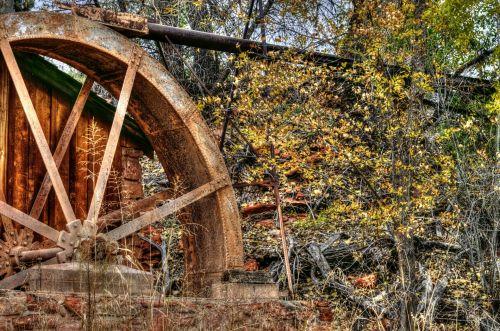 senas, vintage, Senovinis, vandens ratas, vanduo & nbsp, ratas, kritimas, ruduo, lapija, tapybos, rudens vandens ratas