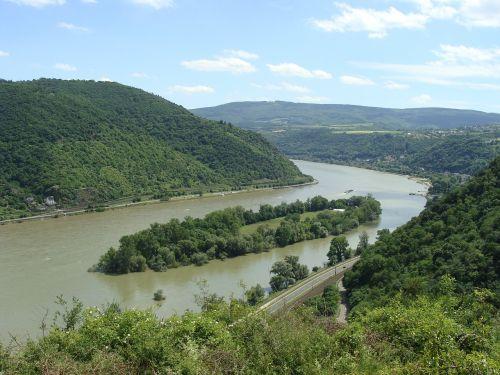 bacharacher werth, Reino slėnis, upė, sala, slėnis, Vokietija, rinas, kalvos, augmenija, gamta