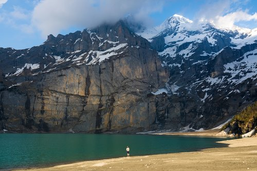 fonas, gražus, Grožio, mėlyna, ramus, debesys, spalva, ledynas, Hill, ežeras, kraštovaizdis, kalnai, pilietis, pobūdį, Naujas, oeschinen, parkas, atspindys, įspūdingas, Sunrise, saulėlydžio, Šveicarija, miškas, vanduo