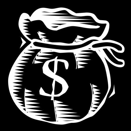 piešimas, balta, maišas, pilnas, pinigai, doleriai, izoliuotas, juoda, piktograma, fonas, doodle, susietas, eilutė, animacinis filmas, simbolis, siluetas, niekas, maišas pilnas pinigų