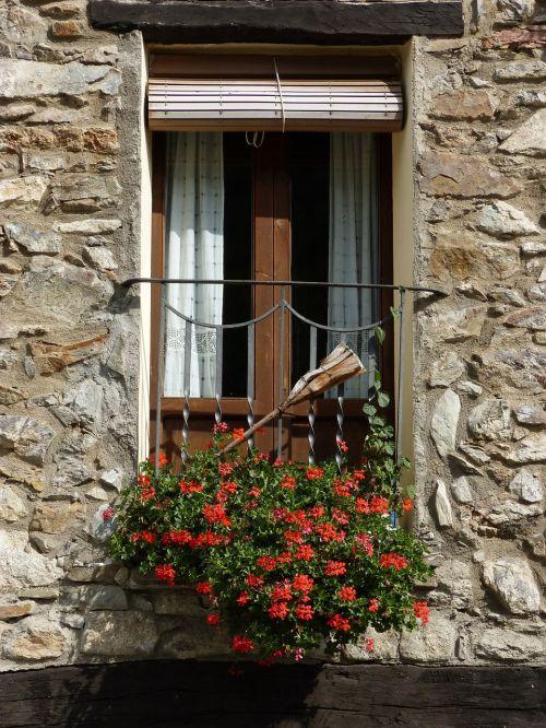 balkonas,Pirėnai,praleisti,Pallars sobirà,ginast,populiari architektūra,geraniums,balkonas florido