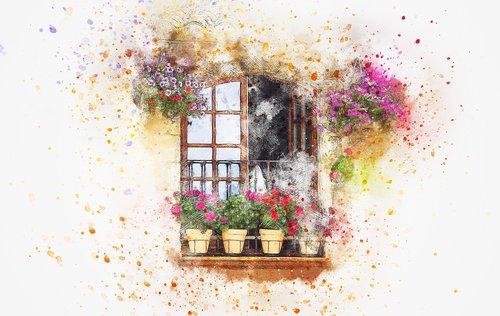 balkonas, gėlės, vaza, menas, akvarelė, pobūdį, Vintage, marškinėliai, meninis, dizainas, Aquarelle, dažų Šļakstēties, skaitmeninis menas, skaitmeninis dažai, piešimo, Nemokama iliustracijos