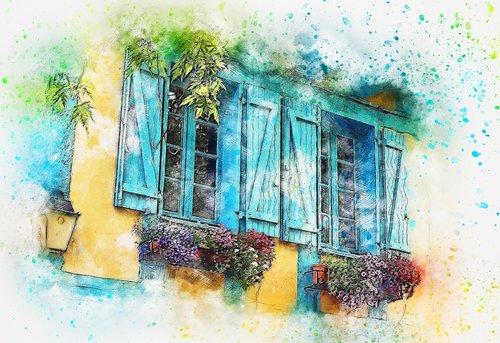 balkonas, gėlės, langas, menas, akvarelė, pobūdį, Vintage, meninis, dizainas, Aquarelle, dažų Šļakstēties, skaitmeninis menas, skaitmeninis dažai, piešimo, Nemokama iliustracijos