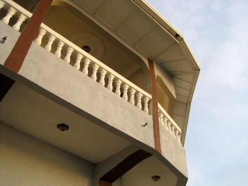 pastatas, aukštas, viršuje, balkonas, balkonas ir dangus