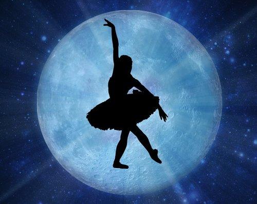 Baletas, siluetas, mėlyna, akinti, spinduliai, šokis, kelti, talentas, Nemokama iliustracijos